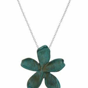 Robert Lee Morris Sculptural Flower Pendant Green